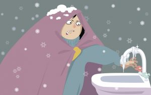 Illustration of young woman, wrapped in a blanket trying to turn on water from a frozen tap