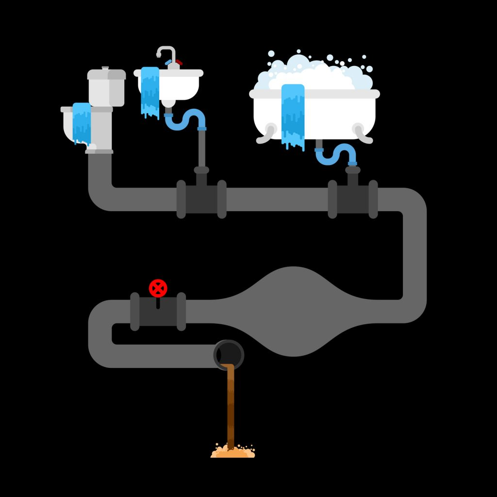 Illustration of sewage clogged with litter in water pipe