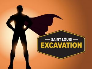superman silhouette standing next to St. Louis Excavation logo