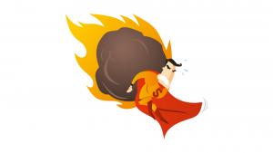 superman holding up a fireball